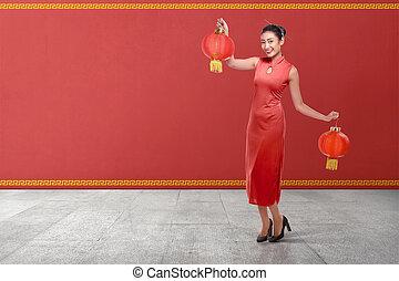 女, 中国語, 若い, 伝統的である, ランタン, 保有物, 衣類, 赤