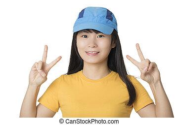 女, 中国語, 隔離された, アメリカ人, 背景, 肖像画, 白