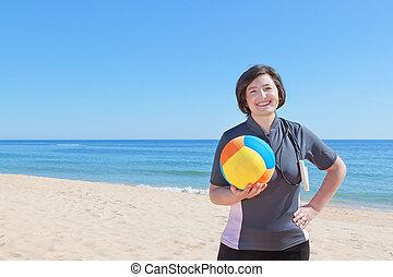 女, 中年, バレーボール, close-up., 浜, ball.