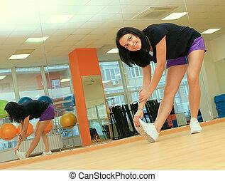 女, 中心, 若い, フィットネス, スポーツ, 練習