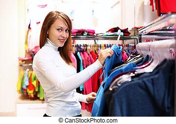 女, 中, 若い, 店, 購入クロス