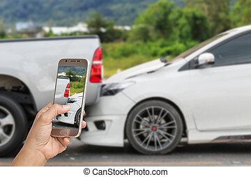 女, 事故, 写真, 手, smartphone, 取得, 保有物, 自動車