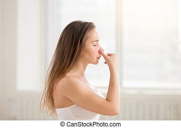 女, 交替しなさい, 若い, 魅力的, 鼻孔, 呼吸, 作成, 白