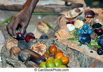 女, 人々, 食物, yirrganydji, 手, 原生, フルーツ, 食べられた, 種, オーストラリア人, 固有,...