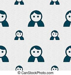 女, 人間, パターン, 印。, seamless, ユーザー, 女性, ベクトル, ログイン, 幾何学的, 女性, texture., トイレ, アイコン
