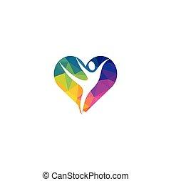 女, 人間, ベクトル, 心, 特徴, template., logo., ロゴ, シンボル, フィットネス, 健康