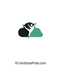 女, 人間, ベクトル, template., 特徴, logo., 雲, ロゴ, シンボル, フィットネス, 健康