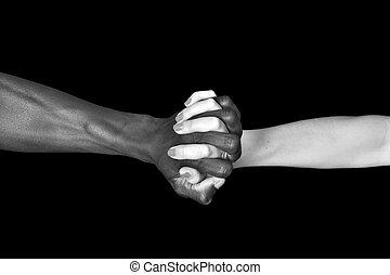 女, 人, 白, 手, 背景, 黒