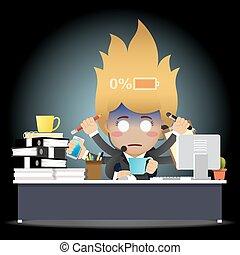 女, 仕事, ビジネス, 疲れた, 多くの腕, コンピュータ