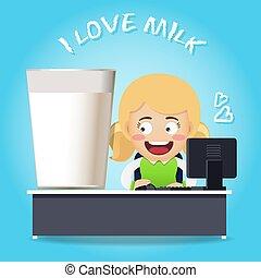 女, 仕事, 大きいガラス, コンピュータ, ミルク