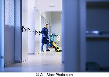 女, 仕事, 専門家, お手伝い, 清掃, そして, 洗浄, 床, ∥で∥, 機械類, 中に, 工業建物