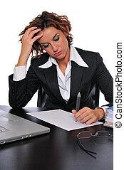 女, 仕事, 彼女, 疲れた, 強調された, ビジネス, 机