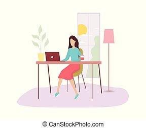 女, 仕事, computer., 机, モデル