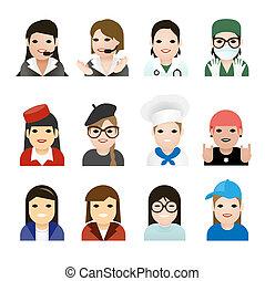 女, 仕事, illustration., icons., ベクトル, ユーザー