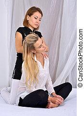 女, 仕事, massage., セラピスト, タイ人, マッサージ