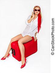 女, 休暇, スーツケース, モデル, 魅力的
