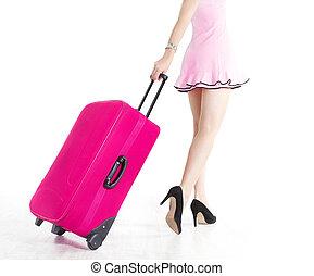 女, 休暇, 行く, 引く, スーツケース, 足