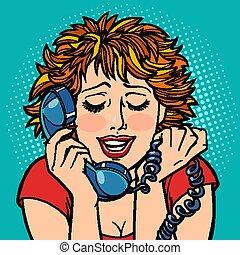 女, 会話, shame., 当惑, 困らせられた, 電話