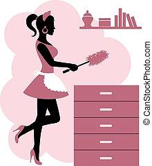 女, 作り, 清掃