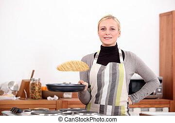 女, 作成, パンケーキ