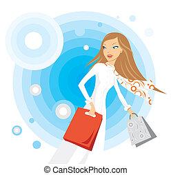 女, 作成, 買い物, 若い, イラスト, 流行, 彼女