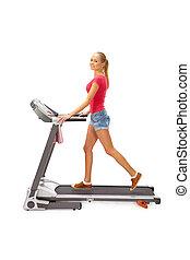 女, 使用, 若い, treadmill.