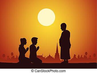 女, 信頼, 仏教, 給料, 人, 敬意, politely, 信じなさい, 修道士