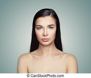 女, 健康, ゆとり, 若い, 長い髪, skin., ブルネット, エステ, モデル, 女の子
