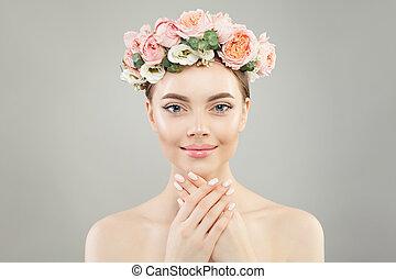 女, 健康, 花輪, 若い, ばら, 皮膚, 花