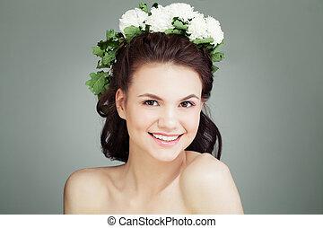 女, 健康, 花, 若い, 皮膚, 肖像画, 微笑, 頭