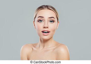 女, 健康, 若い, skincare, girl., skin., 概念, 待遇, 美顔術, 驚かされる
