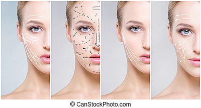 女, 健康, concept., collage., 若い, 顔, 手術, 薬, 人間, エステ, プラスチック, 持ち上がること