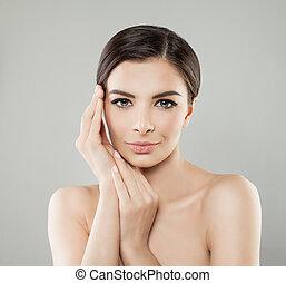 女, 健康, skincare, skin., 概念, エステ, モデル