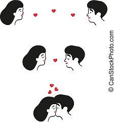 女, 偶力がキスする, 心, 人, date.