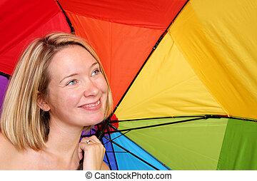 女, 傘, 下に