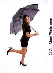 女, 傘, 保有物, セクシー, サイド光景