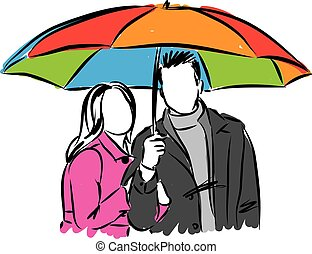 女, 傘, 恋人, イラスト, 下に, 人