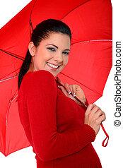女, 傘, 若い, 保有物, 幸せ