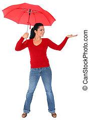 女, 傘, 隔離された, 保有物, コーカサス人, 赤
