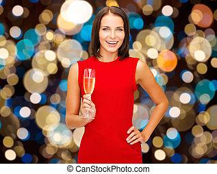 女, 光っていること, ガラス, 保有物, 微笑, ワイン