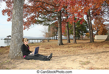 女, 公園, コンピュータ