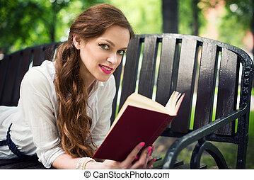 女, 公園, 本, 読書