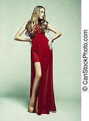 女, 写真, 壮麗, 若い, ファッション, 服, 赤