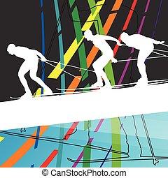 女, 冬, 抽象的, 若い, イラスト, シルエット, 屋外, 背景, スキー, 活動的, 線, スポーツ, 人
