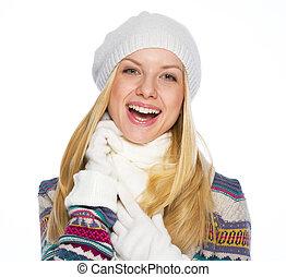 女, 冬, 若い, 肖像画, 微笑, 衣服