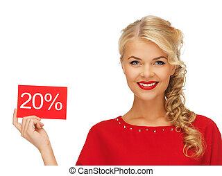 女, 割引, カード, 美しい, 服, 赤