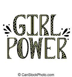 女, 力, 動機づけである, slogan., ベクトル, 女の子, doodles.