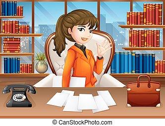 女, 労働者のオフィス