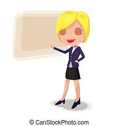女, 労働者, 特徴, ベクトル, プレゼンテーション, 漫画