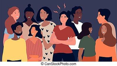 女, 収集, 人々, 怒る, 多様